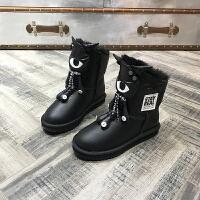 欧洲风格站2017冬季新款女鞋羊皮毛一体雪地靴卡通保暖棉靴短靴潮