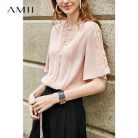 Amii极简洋气时尚仙气雪纺衫女2019夏季新款宽松V领蕾丝花边T恤