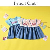 【2件3折价:29.7元】铅笔俱乐部童装2021夏装新女童连衣裙中大童拼接牛仔裙儿童假两件
