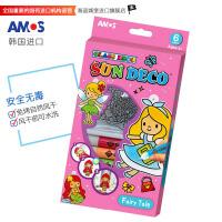 AMOS 韩国进口SD10P6-F 6色儿童DIY玻璃胶画(6色*10.5ML 6款仙女挂件)钥匙扣 玻璃胶 当当自营