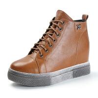 冬季厚底松糕鞋内增高女鞋韩版加绒短筒棉鞋人造短毛绒年冬季靴子 棕色