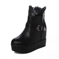 韩版短筒蕾丝马丁靴子秋冬季防水台高跟女靴内增高厚底坡跟短靴女