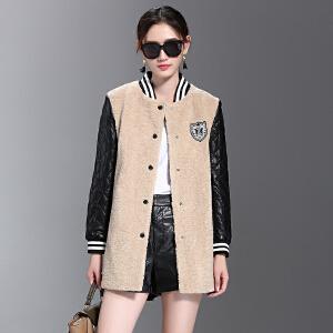 Freefeel 2016冬装新款羊剪绒大衣女士毛呢外套皮袖呢子上衣简约时尚风衣潮