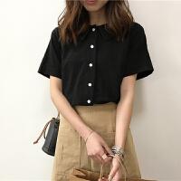 Polo领单排扣短袖T恤女春装新款韩版宽松显瘦百搭纯色上衣打底衫