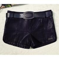 秋冬季修身PU皮裤大码显瘦打底靴裤加绒加厚女式包臀短裤外穿