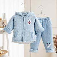 婴儿冬装新生儿衣服夹棉秋冬保暖加厚棉衣棉袄宝宝冬季外出服套装