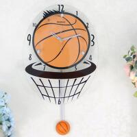 家居装饰摇摆时钟 篮球创意钟表客厅个性静音挂钟挂表