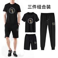 夏季运动套装男士短袖T恤休闲服装2018新款韩版潮流衣服三件组合装