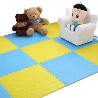 儿童宝宝爬爬行垫拼接 铺地板泡沫地垫子拼图榻榻米大号60x60 黄色+蓝色 一级品