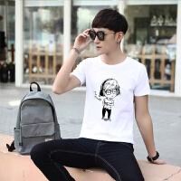 男士短袖T恤2017新款个性潮流宽松上衣服夏季学生装韩版半袖男生 白色 小人