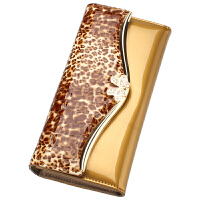 2018新款欧美潮时尚漆皮皮钱包女士长款豹纹大钞夹牛皮钱夹手包