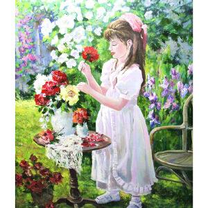 0553俄罗斯联邦美协会员玛丽娜 《欣赏花》
