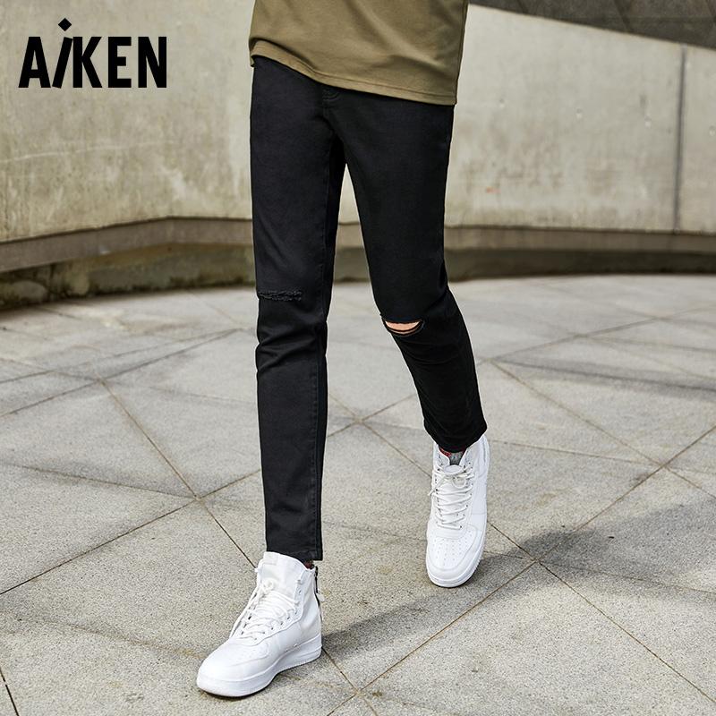 【一件三折】森马旗下Aiken牛仔裤男士2017新款裤子个性破洞潮流小脚长裤男生休闲水洗