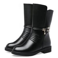 皮鞋女中筒妈妈棉鞋冬季加绒中年棉靴平跟平底中老年鞋女士中筒靴子lkf