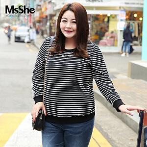 MsShe大码女装2017新款秋装胖MM显瘦弹力棉条纹衫打底t恤M1710069