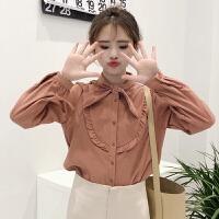 春季新款韩版甜美学院风领结系带木耳边衬衫女学生打底衬衣上衣潮