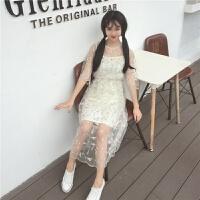 夏季女装文艺刺绣花朵蕾丝裙中长款七分袖网纱连衣裙两件套吊带裙 均码