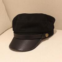 春夏天韩版海军帽平顶帽子复古小礼帽男女青年潮秋冬皮帽檐贝雷帽