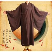 佛教用品批发 僧服僧衣 黄色咖啡色麻纱海青 男女居士服 一件起批 35码 咖啡色