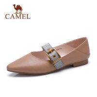 骆驼真皮平底浅口单鞋秋新款尖头玛丽珍鞋一字扣平跟舒适女鞋