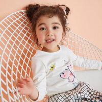 【1件4折到手价:38.4】moomoo童装儿童t恤女幼童2019新款春针织长袖t恤小女孩洋气上衣