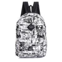 新款个性涂鸦报纸大容量帆布双肩包男女韩版潮休闲学生书包背