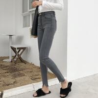 高腰牛仔裤女紧身小脚2018春季新款韩版显瘦超高腰烟灰九分小脚裤
