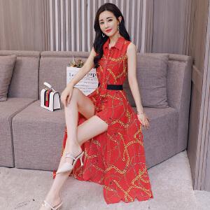2018新款夏季优雅气质修身印花连衣裙套裙短裤连衣裤两件套女套装