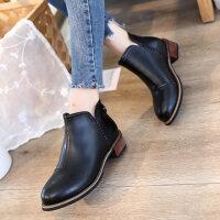 2018春季新款韩版短靴女中跟靴子马丁靴粗跟及踝靴英伦风女靴女鞋
