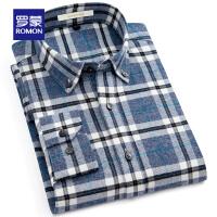 【3折到手价:126】Romon/罗蒙格子长袖衬衫男士休闲磨毛衬衣中青年新款时尚纯棉寸衫