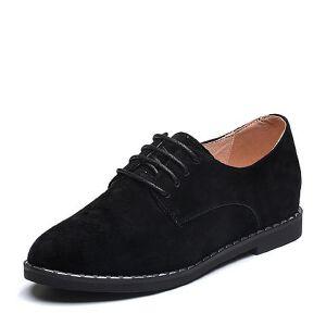BASTO/百思图2018春季专柜同款绒面羊皮简约系带女休闲鞋YQZ01AM8