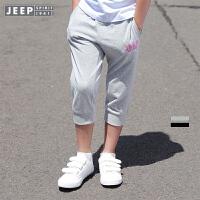 【每满100减50到手价:89】JEEP/吉普童装 女童针织七分裤中大儿童休闲裤夏新款