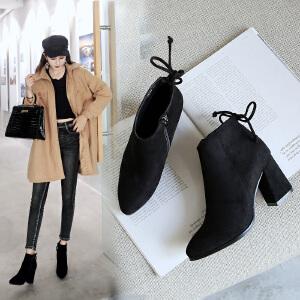ZHR2018秋冬季新款韩版粗跟短靴尖头高跟切尔西靴百搭学生女靴子