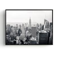 都市夜景 黑白摄影 装饰画壁画挂画无框画客厅卧室餐厅咖啡馆墙画