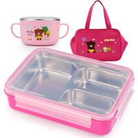 小学生304不锈钢分格饭盒便当盒儿童餐盘