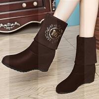 2018秋冬季新款韩版两穿女靴子坡跟短靴内增高女鞋百搭高跟中筒靴SN7508