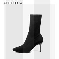 尖头袜靴高跟鞋女秋冬2018新款细跟短靴针织弹力靴袜子靴瘦瘦靴子SN8759