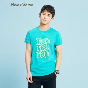 美特斯邦威短袖情侣T恤男夏装新款个性印花舒适学生打底