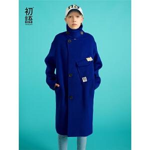 初语呢子大衣女长款2018秋装新款防风撞色绣花宽松绵羊毛呢外套