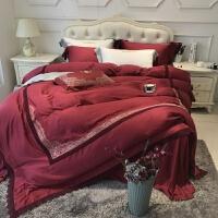 酒红新婚四件套 80支天丝婚庆床上用品 丝滑高端欧式蕾丝设计 +抱枕