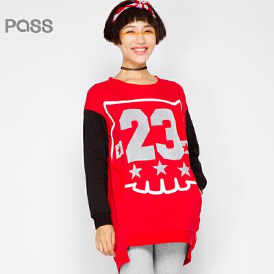 PASS原创潮牌秋装 套头数字印花中长款拼接长袖卫衣女6530521112
