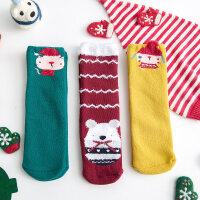 儿童袜子冬季男女童可爱圣诞袜宝宝地板袜毛圈加厚长筒礼盒袜 (均码)长26cm适合2-8岁