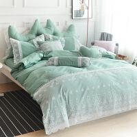 ???韩版蕾丝床上用品四件套全棉公主风床单被罩纯棉纯色被套结婚床品