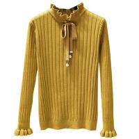 半高领毛衣女打底衫秋冬荷叶边蝴蝶结加厚长袖修身套头上衣针织潮 均码