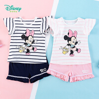 【3件3折到手价:70.8】迪士尼Disney童装 女童套装小飞袖条纹T恤纯棉短裤2件套2020年夏季新品