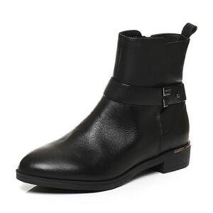 Belle/百丽冬季专柜同款黑油皮牛皮女皮靴(绒里)BMT44DD6