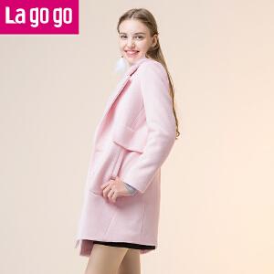 lagogo2017年冬季新款粉色中长款韩版宽松毛呢外套长袖呢子大衣女