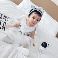 婴儿裙子夏季无袖背心蕾丝公主裙百合花婴幼儿宝宝连衣裙夏装