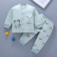 婴儿衣服秋冬6--12个月宝宝夹棉套装秋季加厚新生儿和尚服