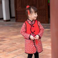 女童唐装冬季中国风婴儿周岁礼服马甲旗袍两件套过年喜庆宝宝装女 红色两件套